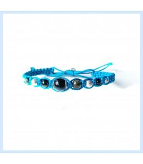 Macrame and obsidian bracelet