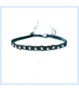 Silver and macrame bracelet