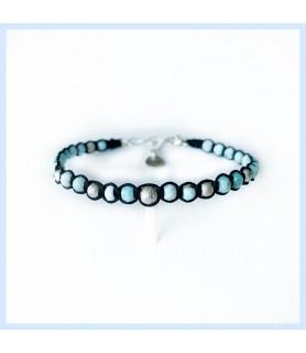 Larimar / macrame bracelet