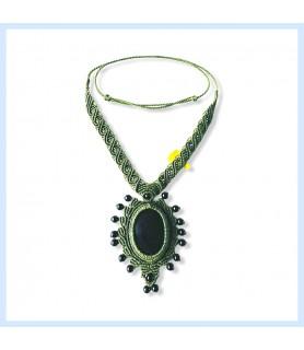 Black obsidian / macrame chain