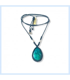 Necklace Chrysocolla, stone...